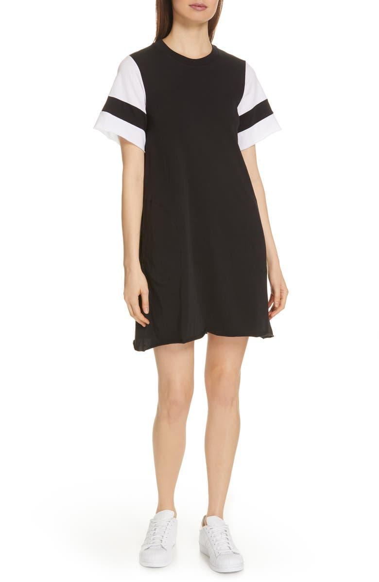 ATM ANTHONY THOMAS MELILLO Stripe Sleeve Jersey T-Shirt Dress, Main, color, 001