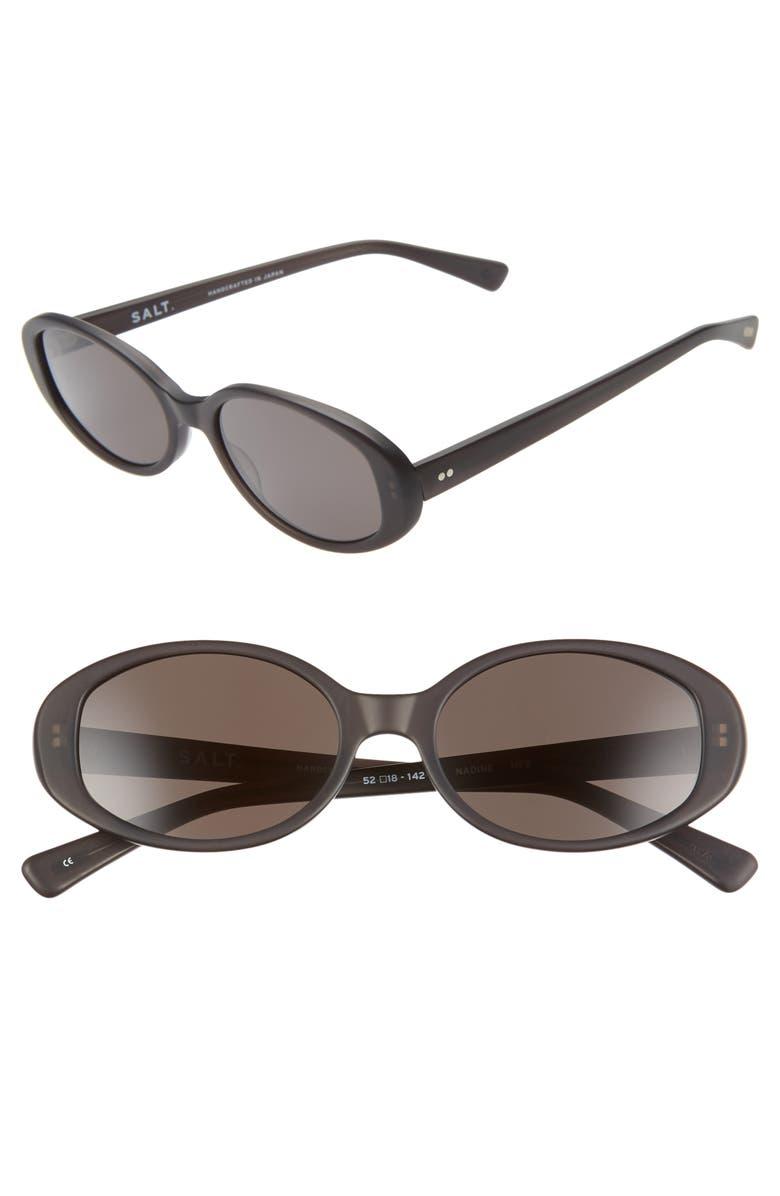 SALT. Nadine 52mm Oval Sunglasses, Main, color, MATTE FROSTED BLACK