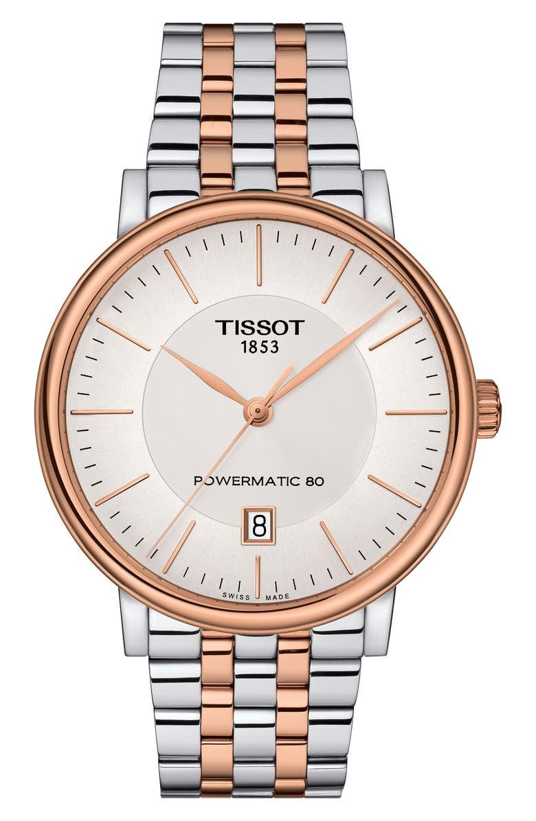 TISSOT Carson Premium Powermatic Lady Bracelet Watch, 40mm, Main, color, SILVER/ ROSE GOLD