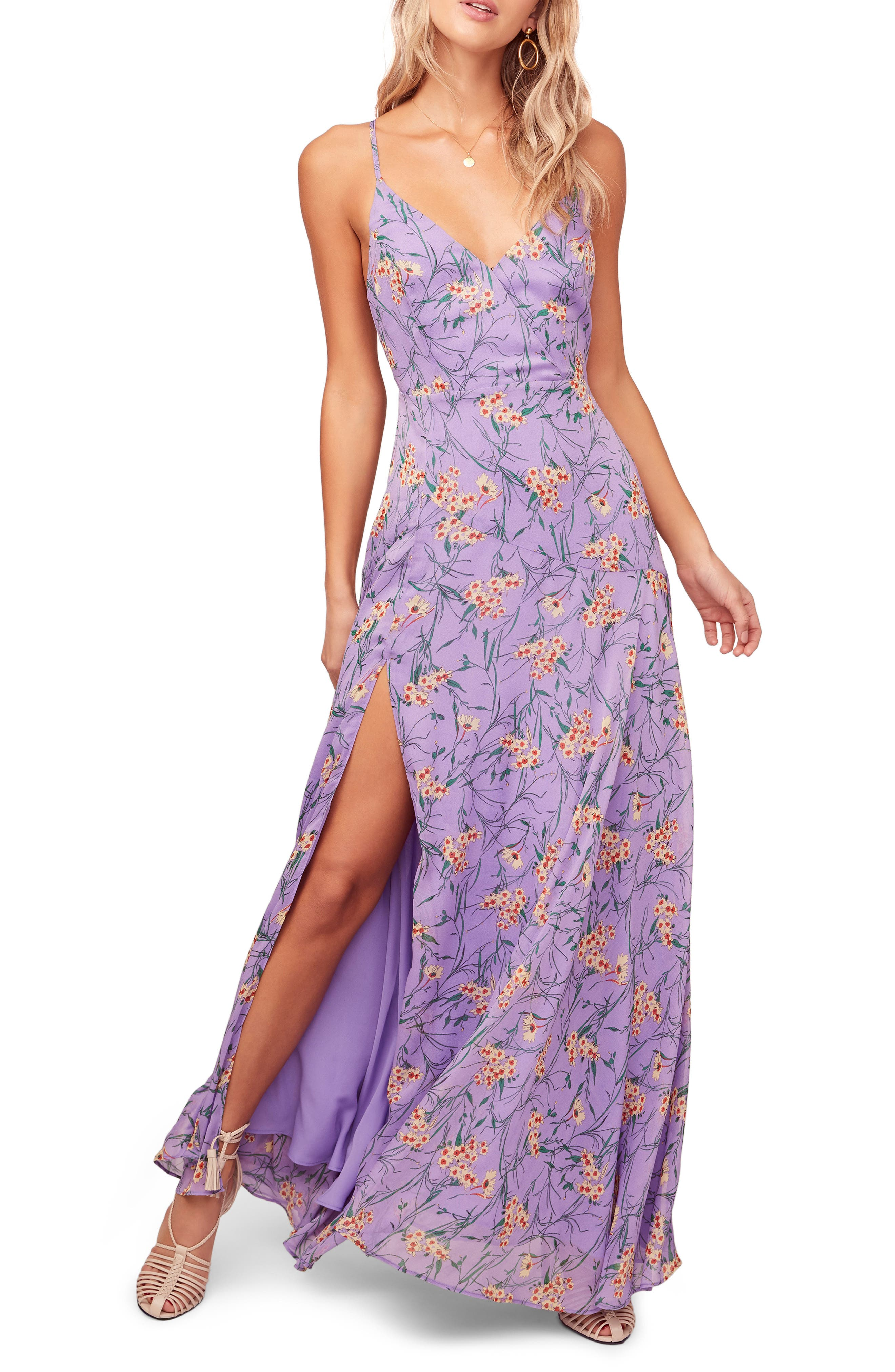 Astr The Label Pandora High Slit Floral Print Maxi Sundress, Purple