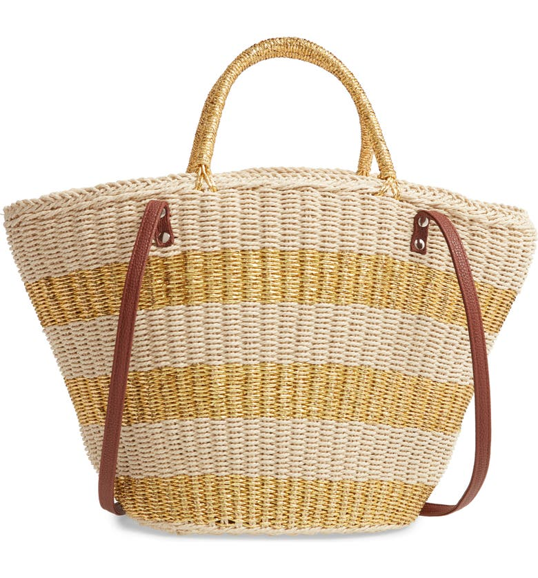 MALI + LILI Amelia Straw Tote, Main, color, NATURAL/ GOLD