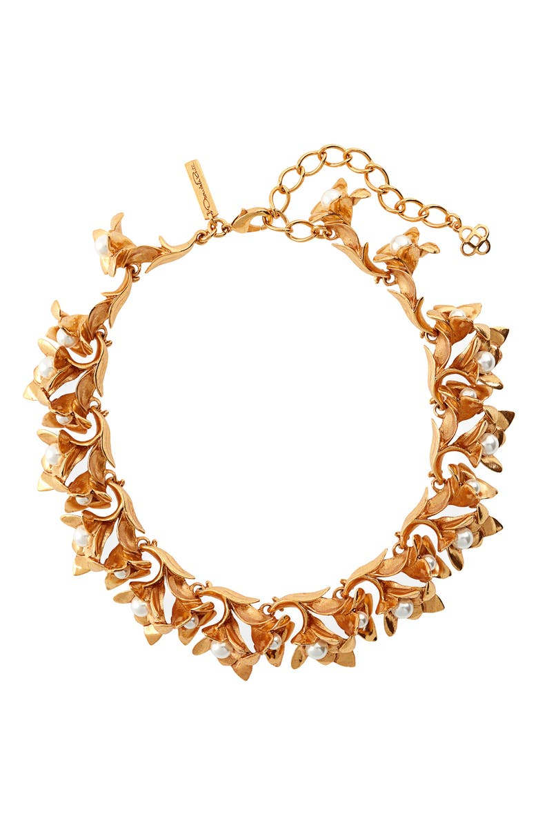 OSCAR DE LA RENTA Flower Necklace, Main, color, GOLD