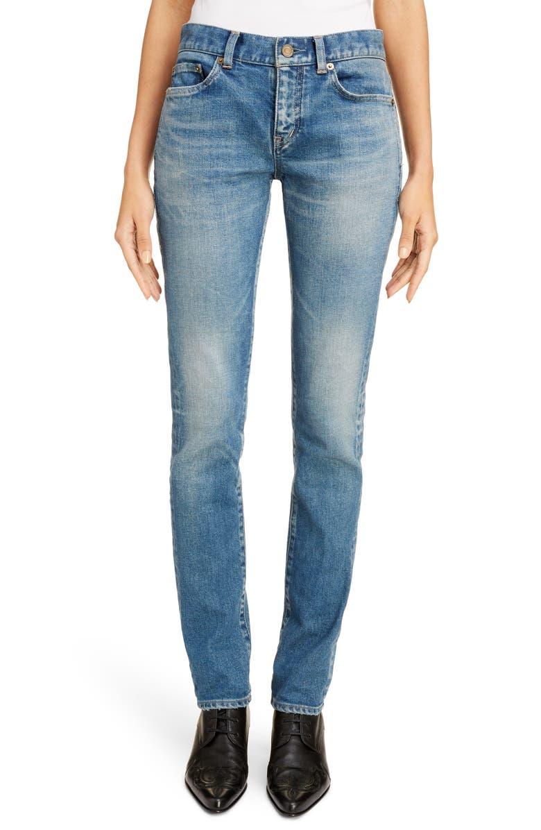 SAINT LAURENT Skinny Jeans, Main, color, SANDY BLUE