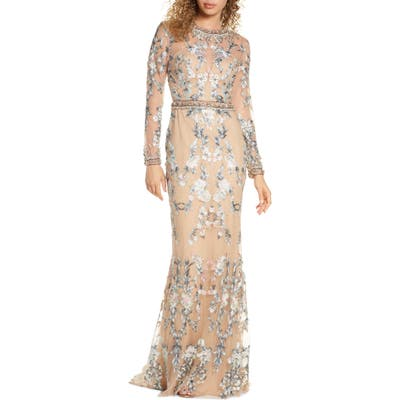 MAC Duggal Embellished Long Sleeve Lace Gown, Beige