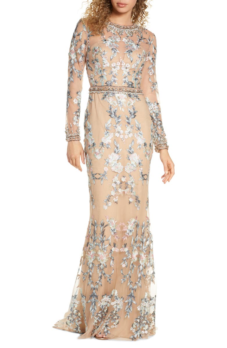 MAC DUGGAL Embellished Long Sleeve Lace Gown, Main, color, NUDE MULTI