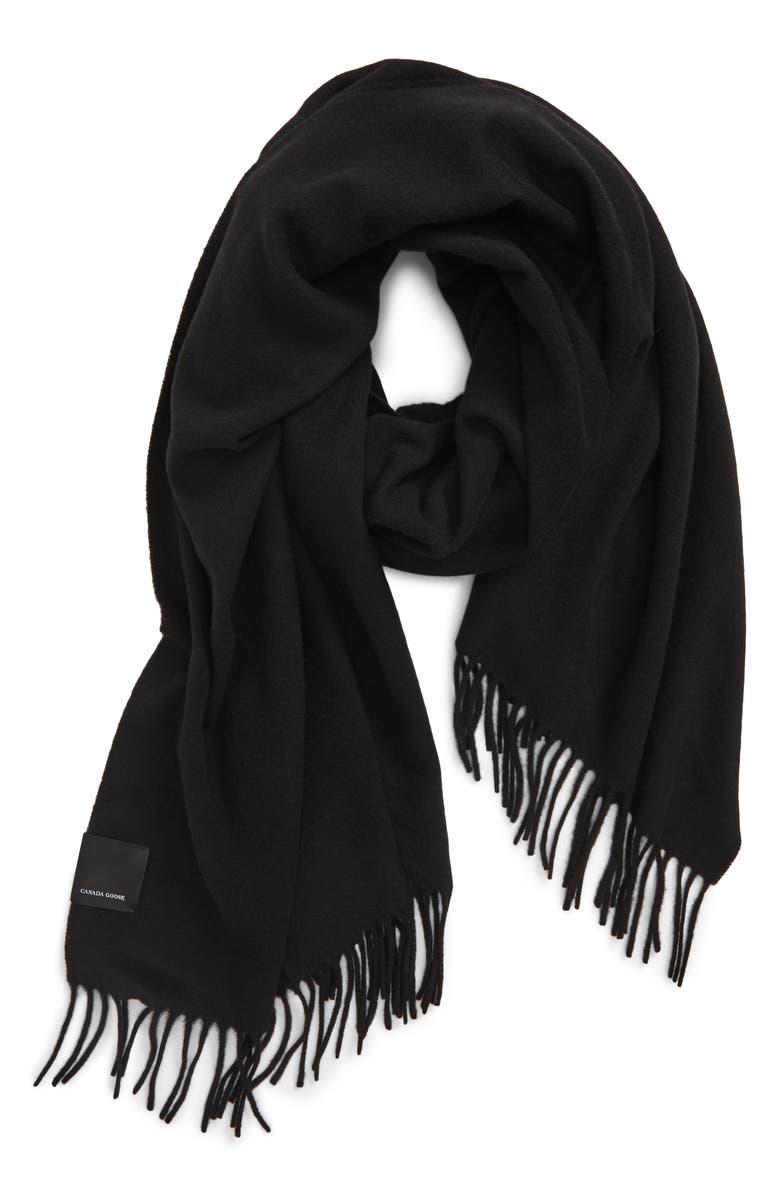 CANADA GOOSE Solid Merino Wool Scarf, Main, color, BLACK