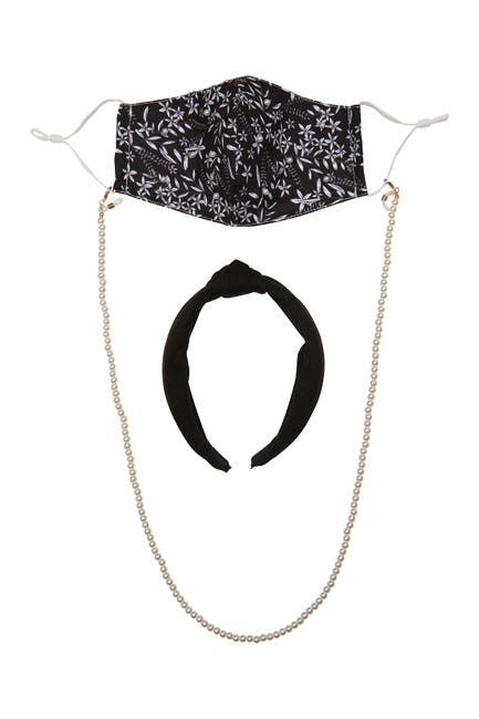 Image of Berry Floral Print Face Mask, Chain & Headband Set - 3 Piece Set