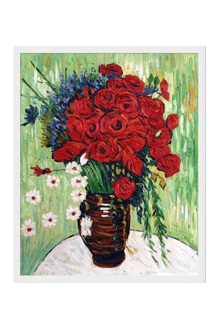 Image of Overstock Art Vase with Daisies and Poppies with Studio White Wood Frame