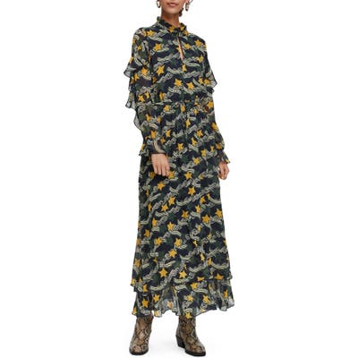 Scotch & Soda Print Long Sleeve Ruffle Maxi Dress, Green