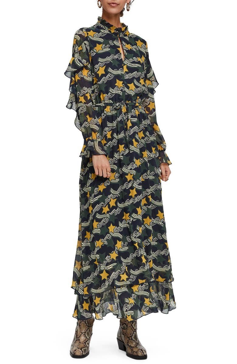 SCOTCH & SODA Print Long Sleeve Ruffle Maxi Dress, Main, color, 300