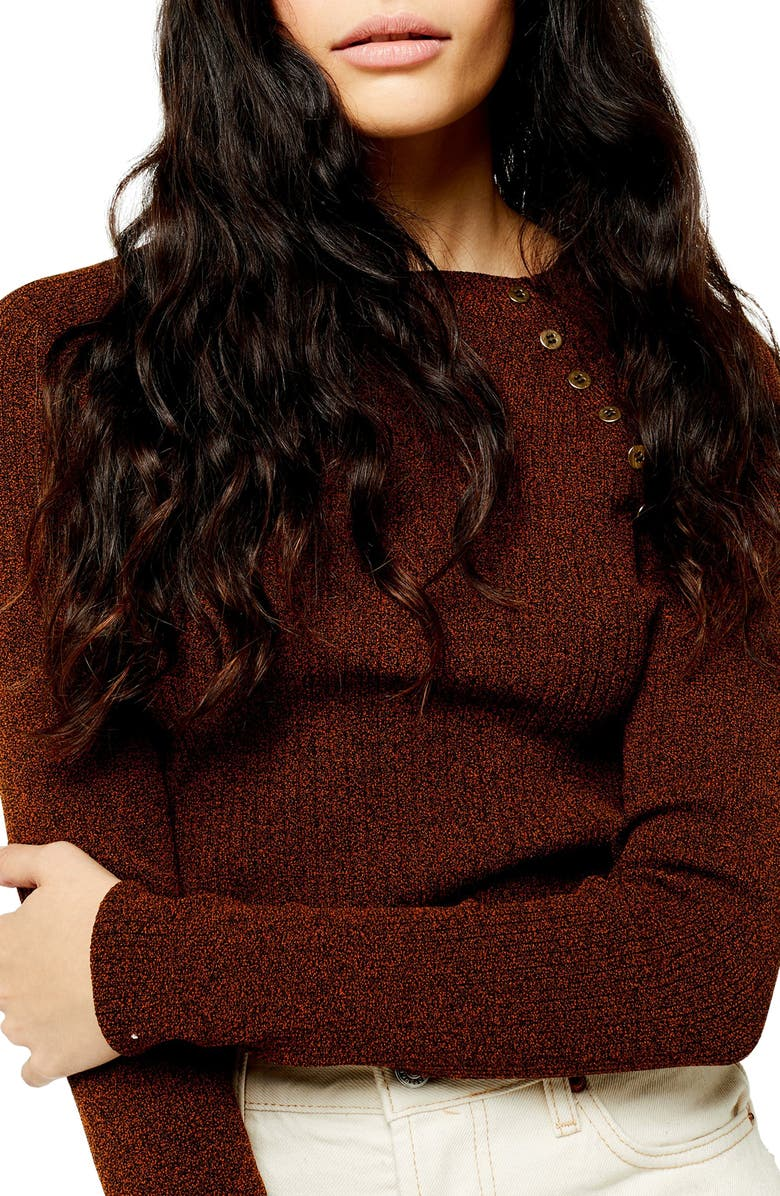 TOPSHOP Button Ribbed Pullover, Main, color, BROWN