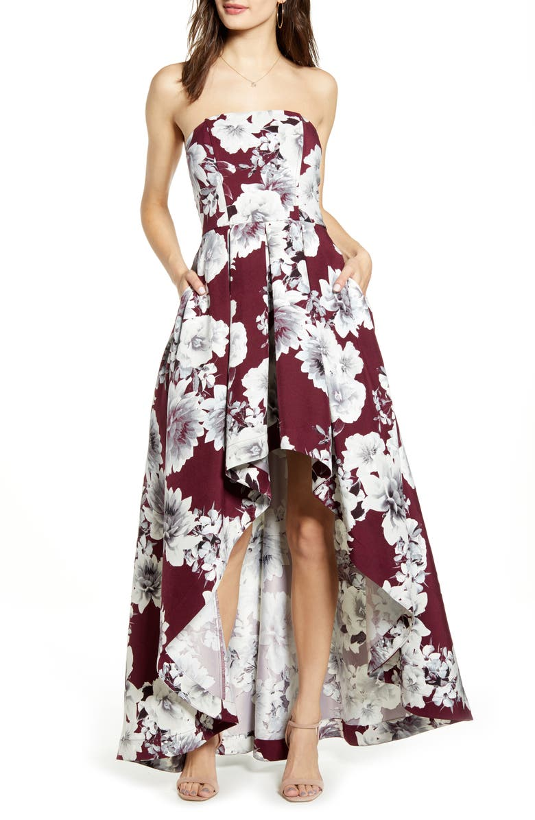 SPEECHLESS Floral Print Strapless High/Low Dress, Main, color, WINE GREY