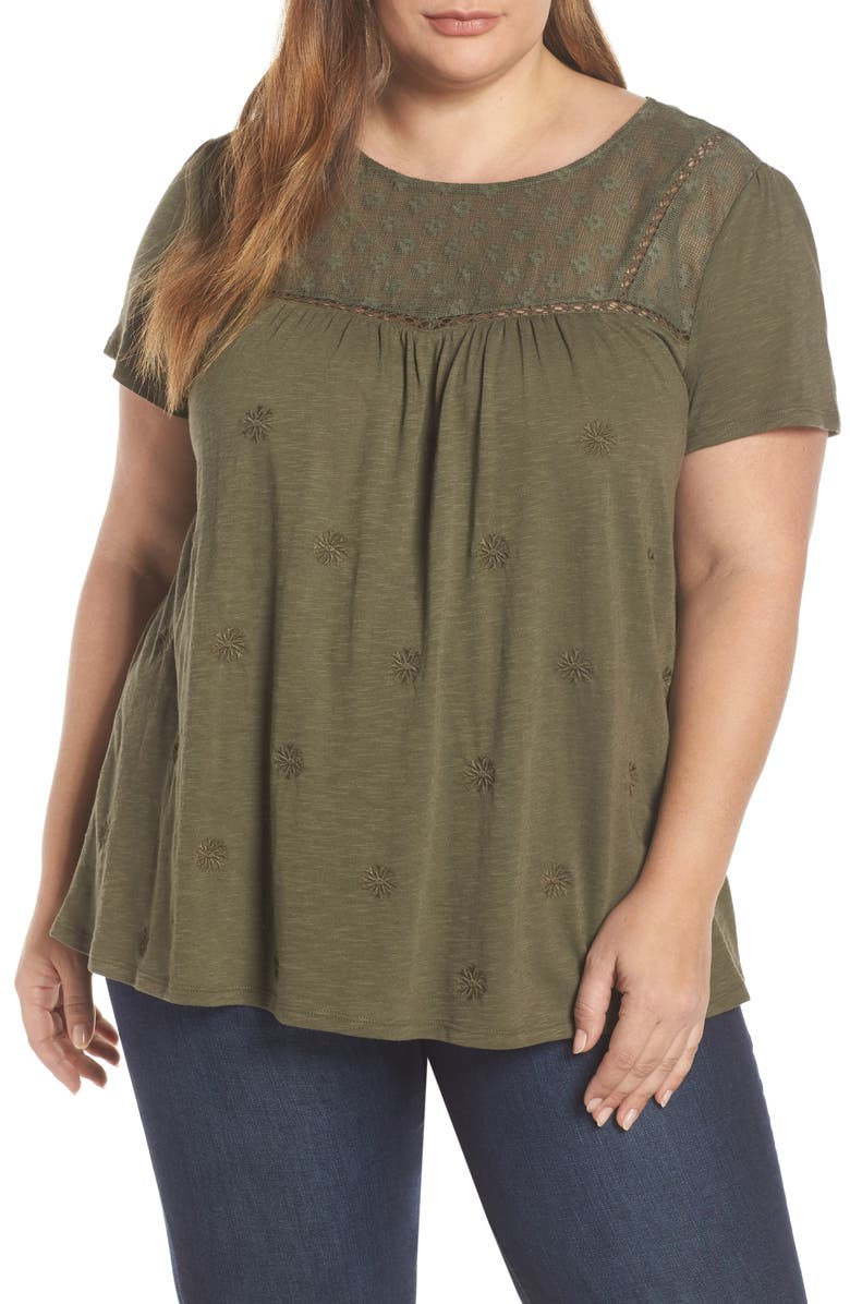 CASLON<SUP>®</SUP> Embroidered Knit Top, Main, color, 301
