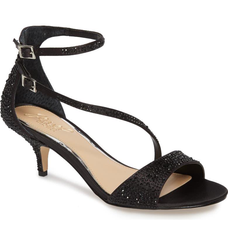 JEWEL BADGLEY MISCHKA Tangerine Crystal Embellished Sandal, Main, color, BLACK SATIN