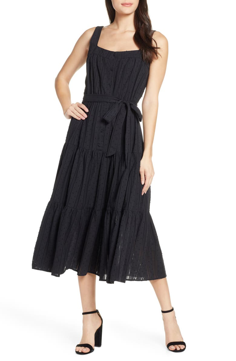 CHELSEA28 Tiered Fit & Flare Midi Dress, Main, color, BLACK
