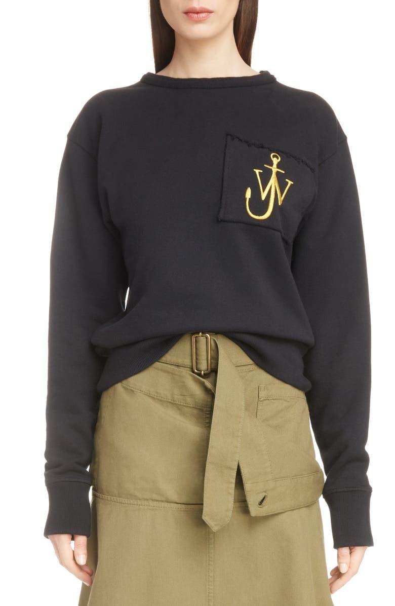JW ANDERSON Raw Edge Logo Sweatshirt, Main, color, 001