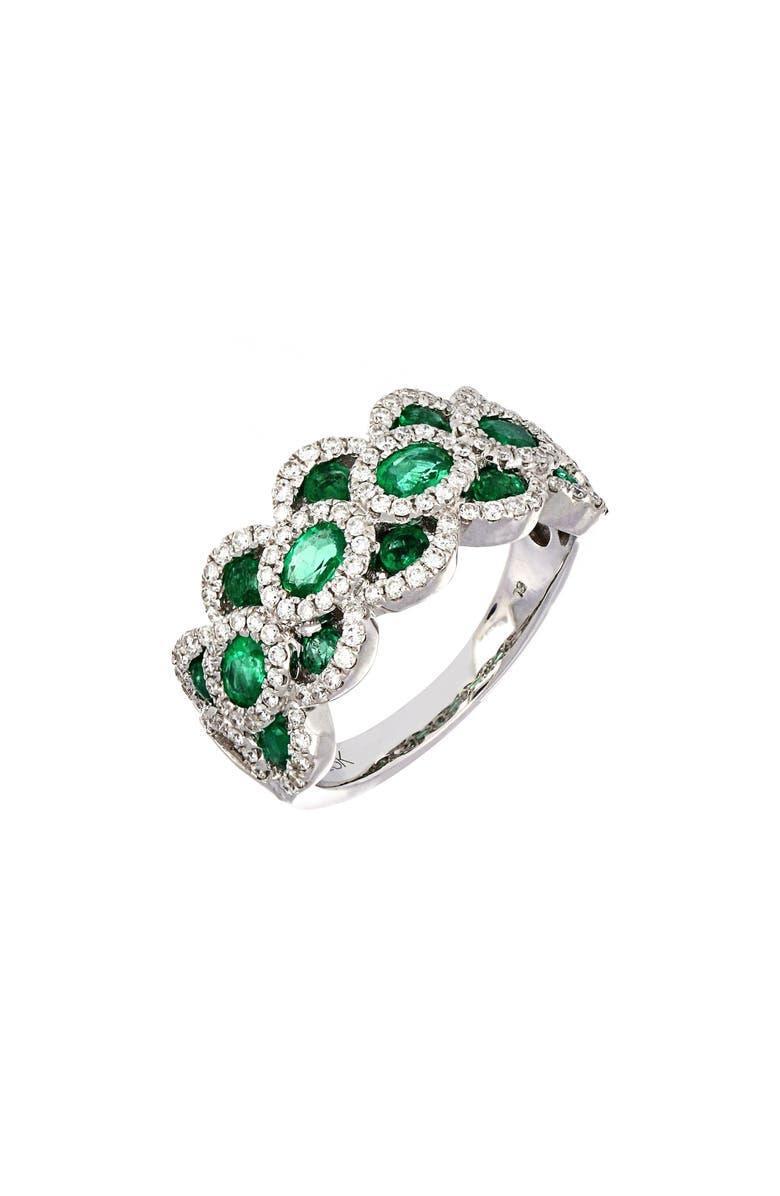 BONY LEVY Layered Diamond & Emerald Ring, Main, color, WHITE GOLD/ EMERALD