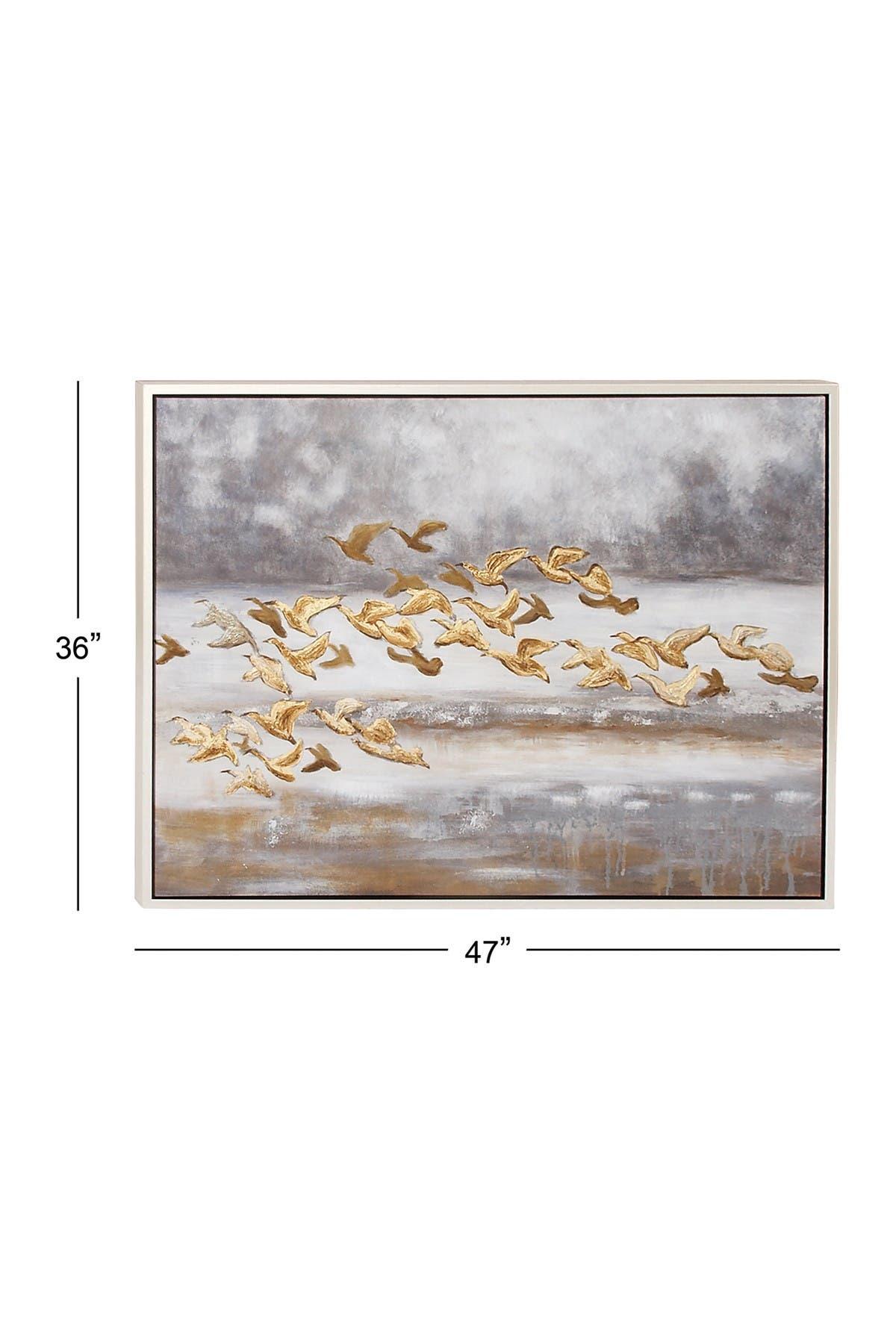 "Image of Willow Row Gold Coastal Animals Canvas Wall Art - 34"" x 45"""