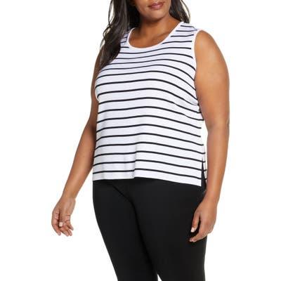 Plus Size Ming Wang Stripe Scoop Neck Knit Tank, White