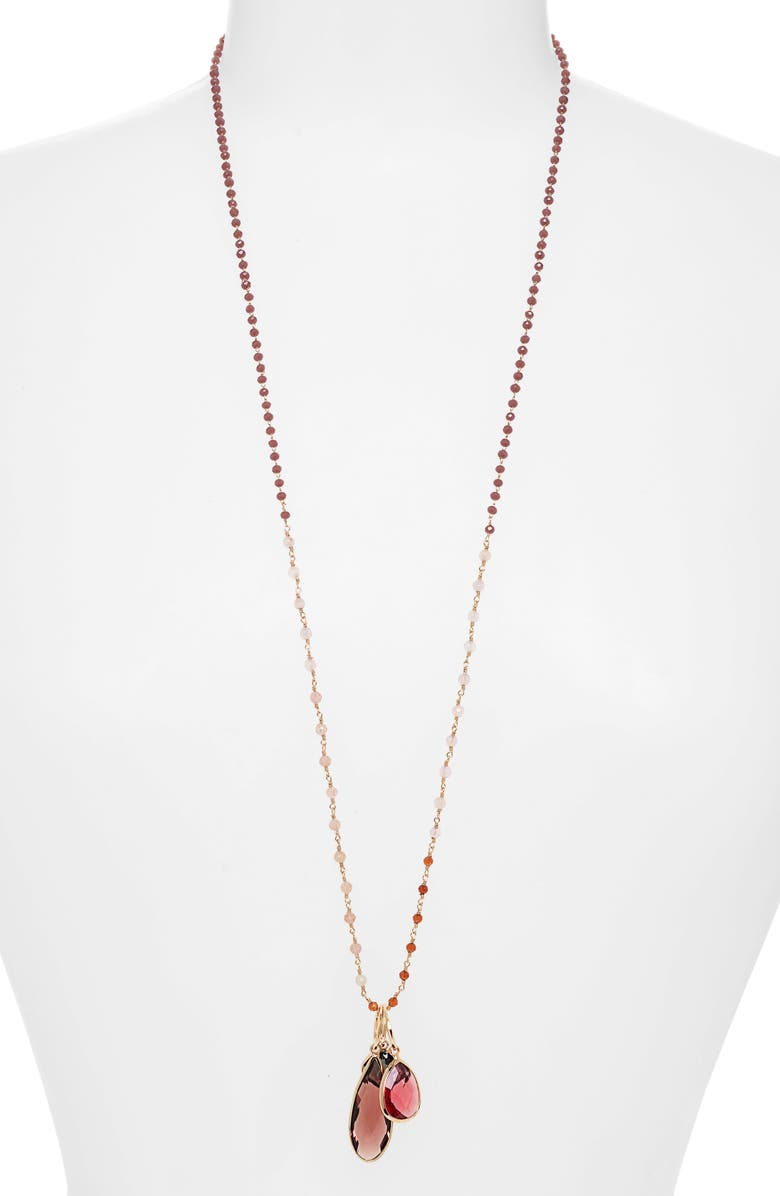 SEREFINA Cluster Drop Necklace, Main, color, GOLD/ ROSE
