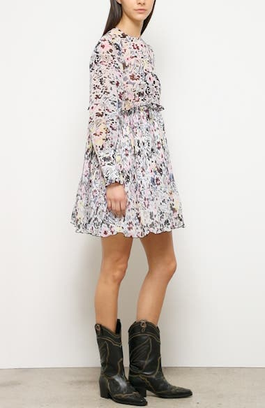 Long Sleeve Floral Print Georgette Dress, video thumbnail