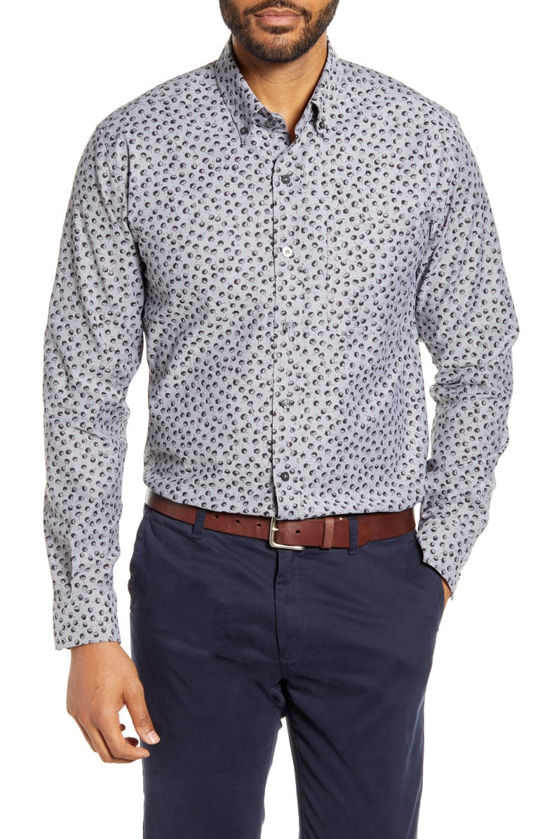 CUTTER & BUCK Anchor Classic Fit Tossed Print Button-Down Shirt, Main, color, 001