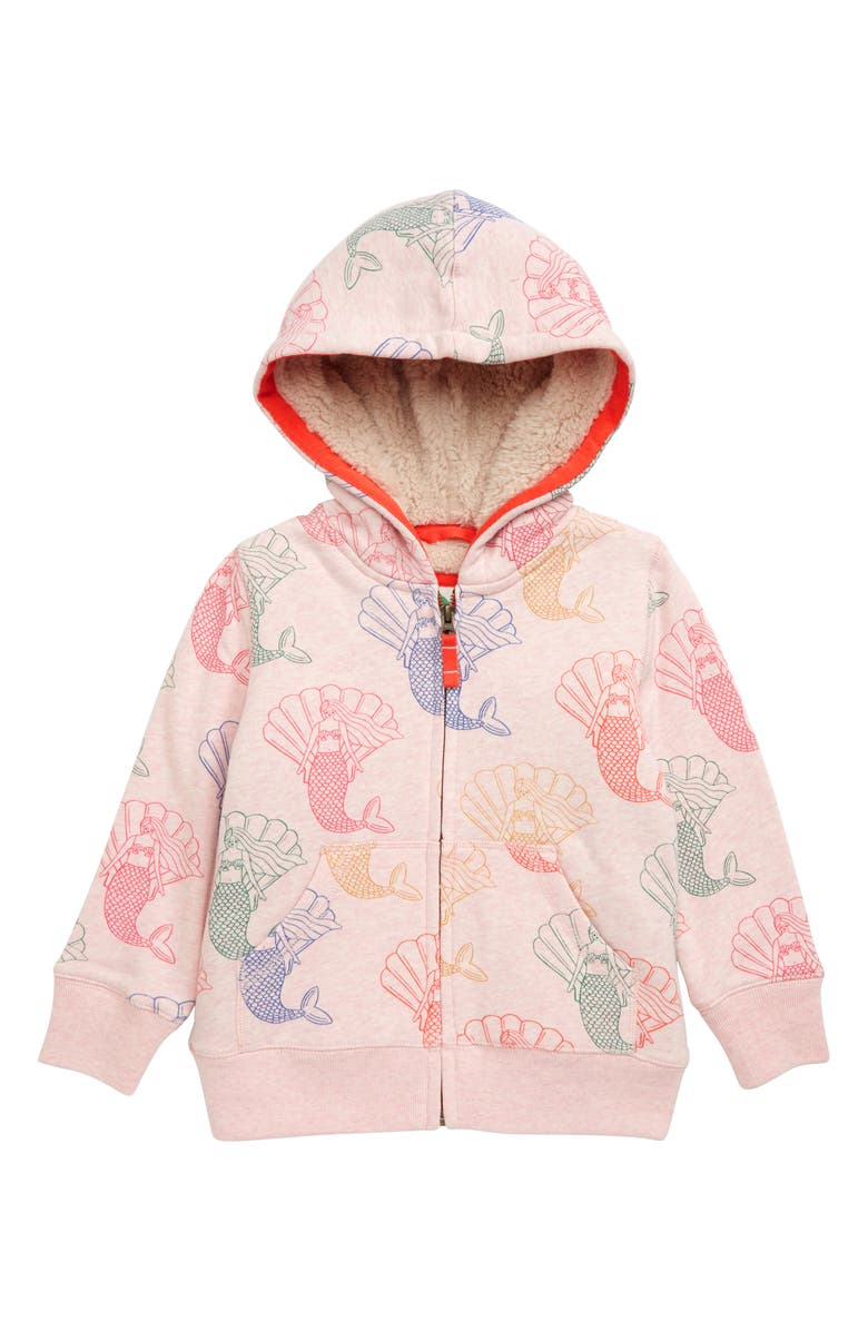 MINI BODEN Fleece Lined Mermaid Zip Hoodie, Main, color, LIGHT PINK MARL MERMAIDS