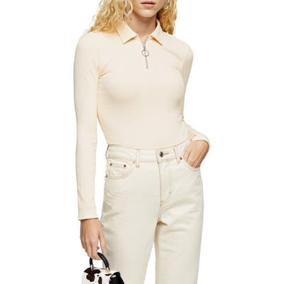 Topshop Variegated Rib Zip Polo