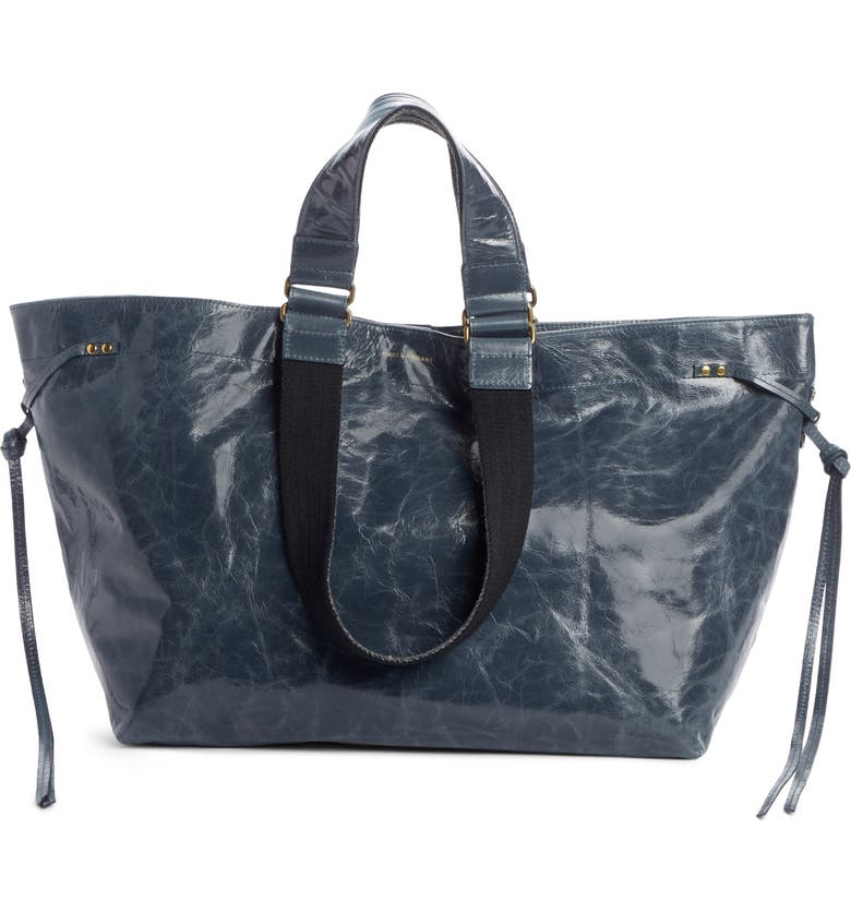 ISABEL MARANT Wardy Leather Shopper, Main, color, GREYISH BLUE