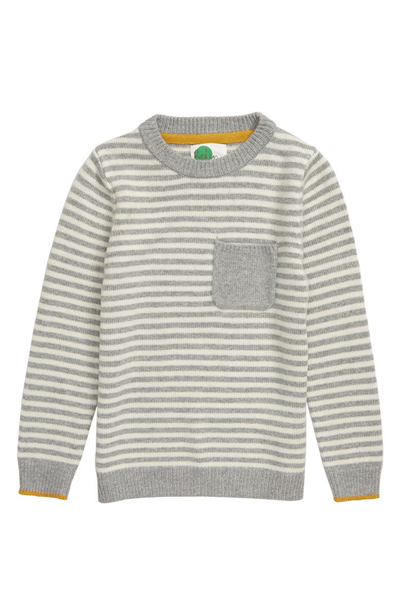 MINI BODEN Stripe Crewneck Sweater, Main, color, GREY MARL/ IVORY