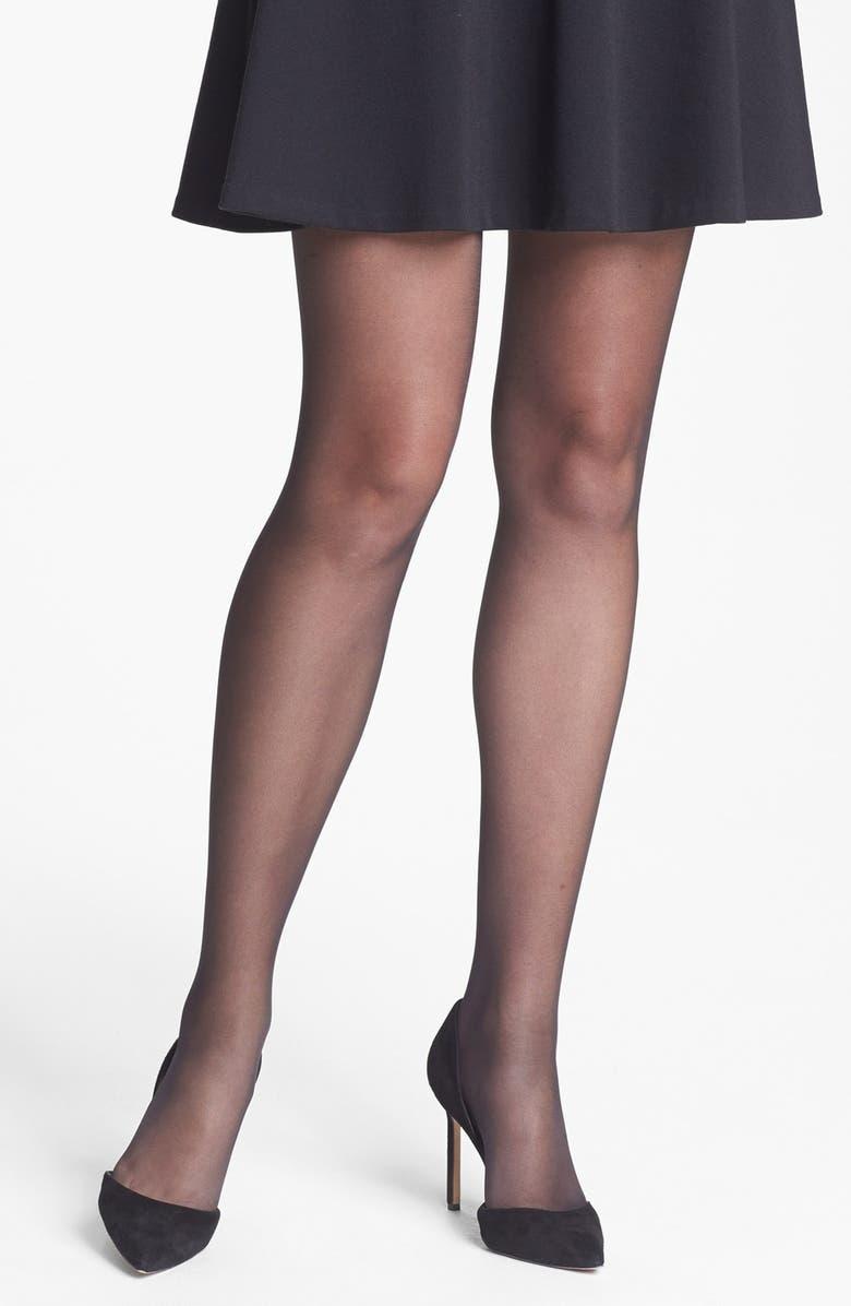 CALVIN KLEIN Matte Ultra Sheer Control Top Pantyhose, Main, color, 001