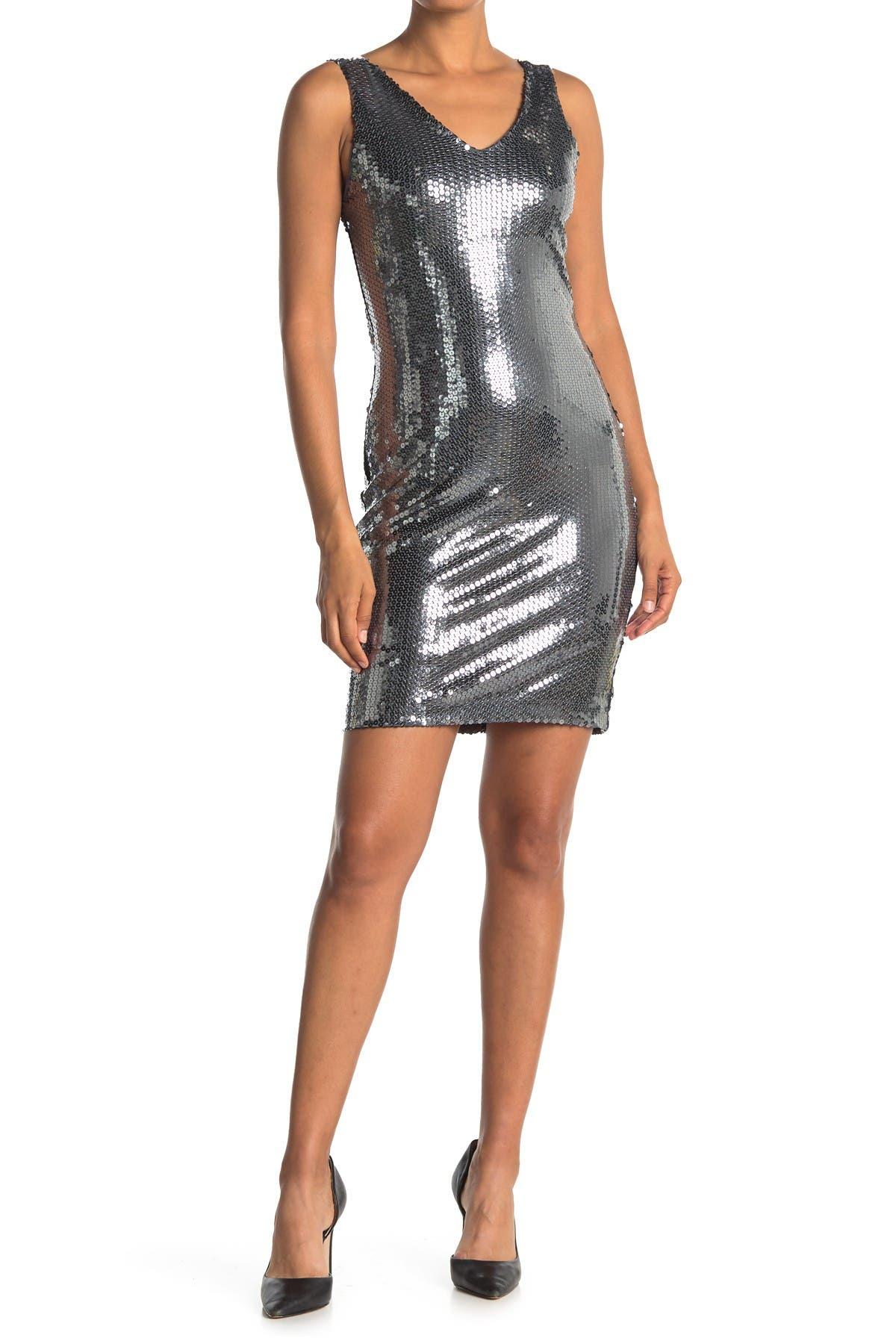 Image of Carmen Carmen Marc Valvo Sleeveless Sequin V-Neck Dress