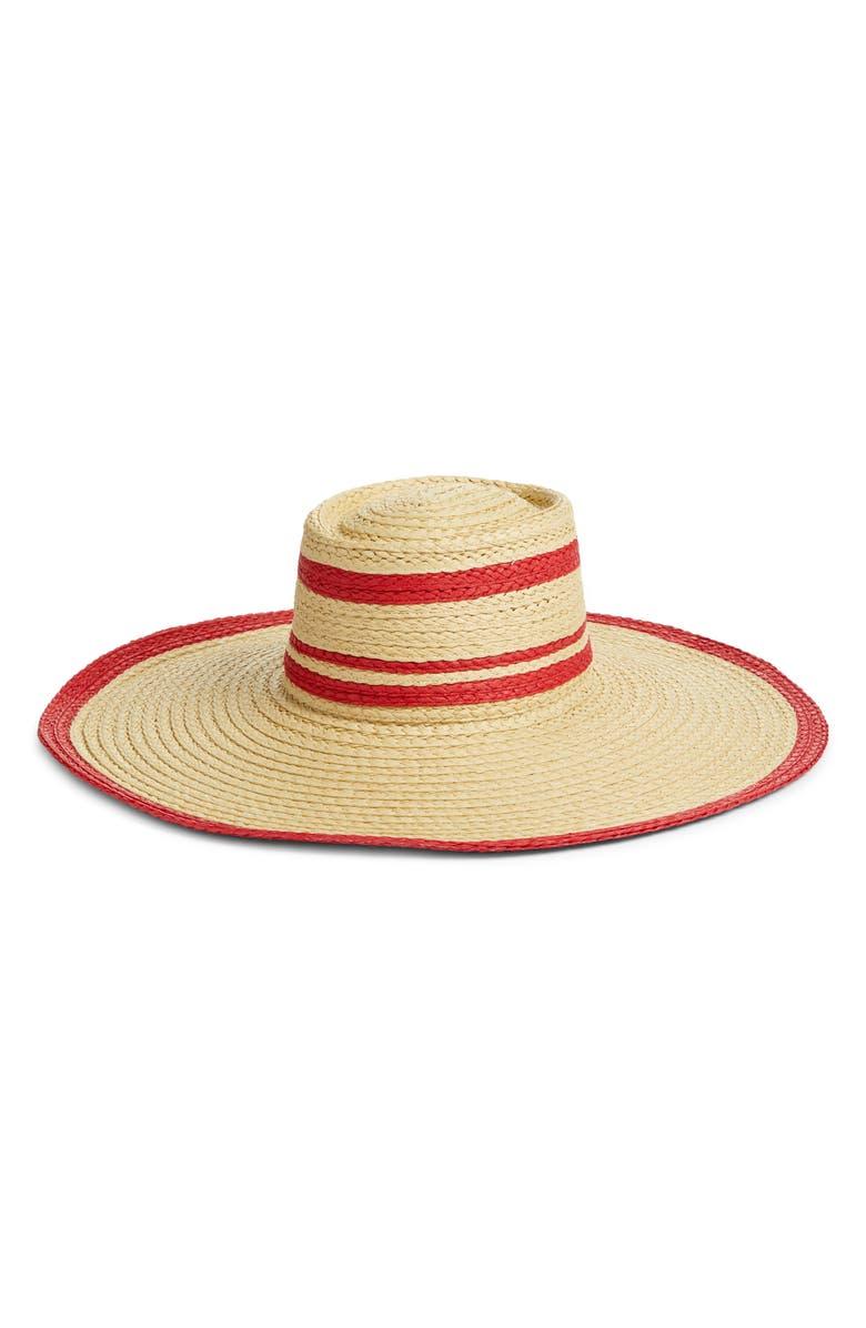 HALOGEN<SUP>®</SUP> Flat Top Floppy Straw Hat, Main, color, BEIGE COMBO