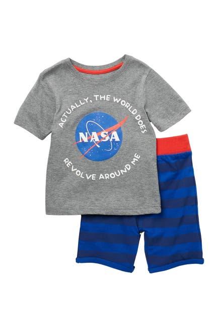 Image of HAPPY THREADS NASA Short Sleeve T-Shirt & Terry Shorts 2-Piece Set