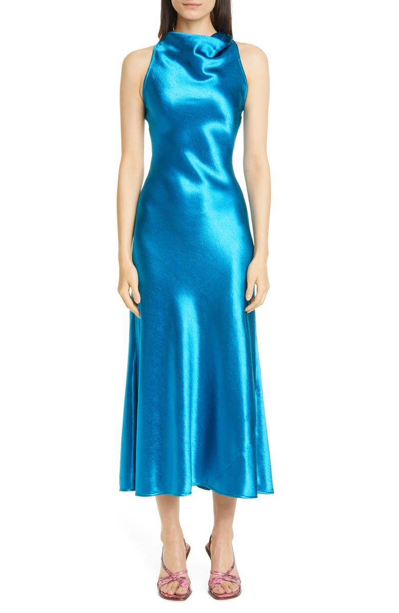 SIES MARJAN Andy Cowl Neck Satin A-Line Midi Dress, Main, color, SAPPHIRE BLUE