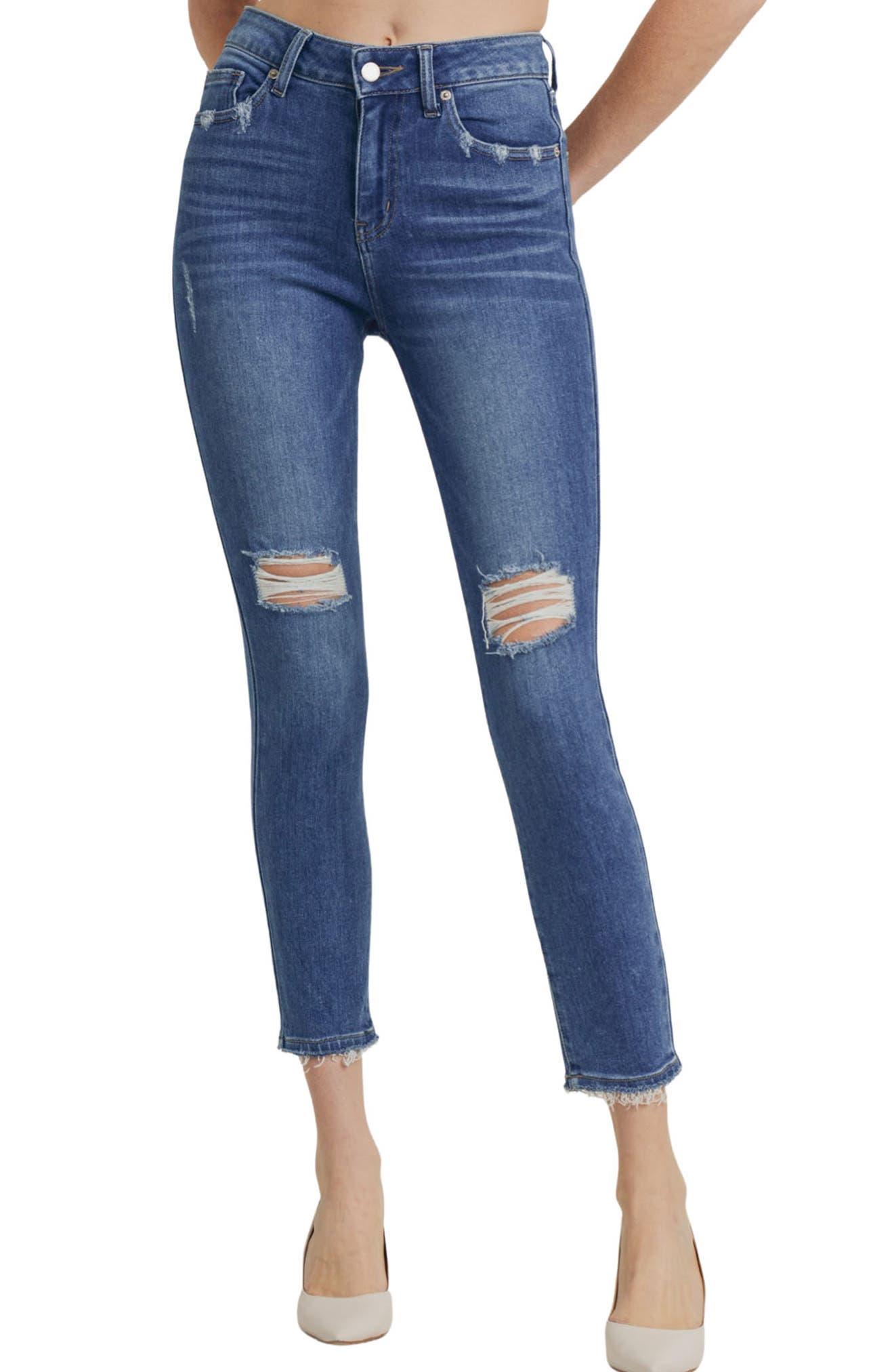 Verona Ripped High Waist Ankle Skinny Jeans