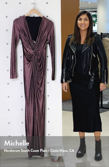 In a Mood Plunging Long Sleeve Metallic Gown, sales video thumbnail