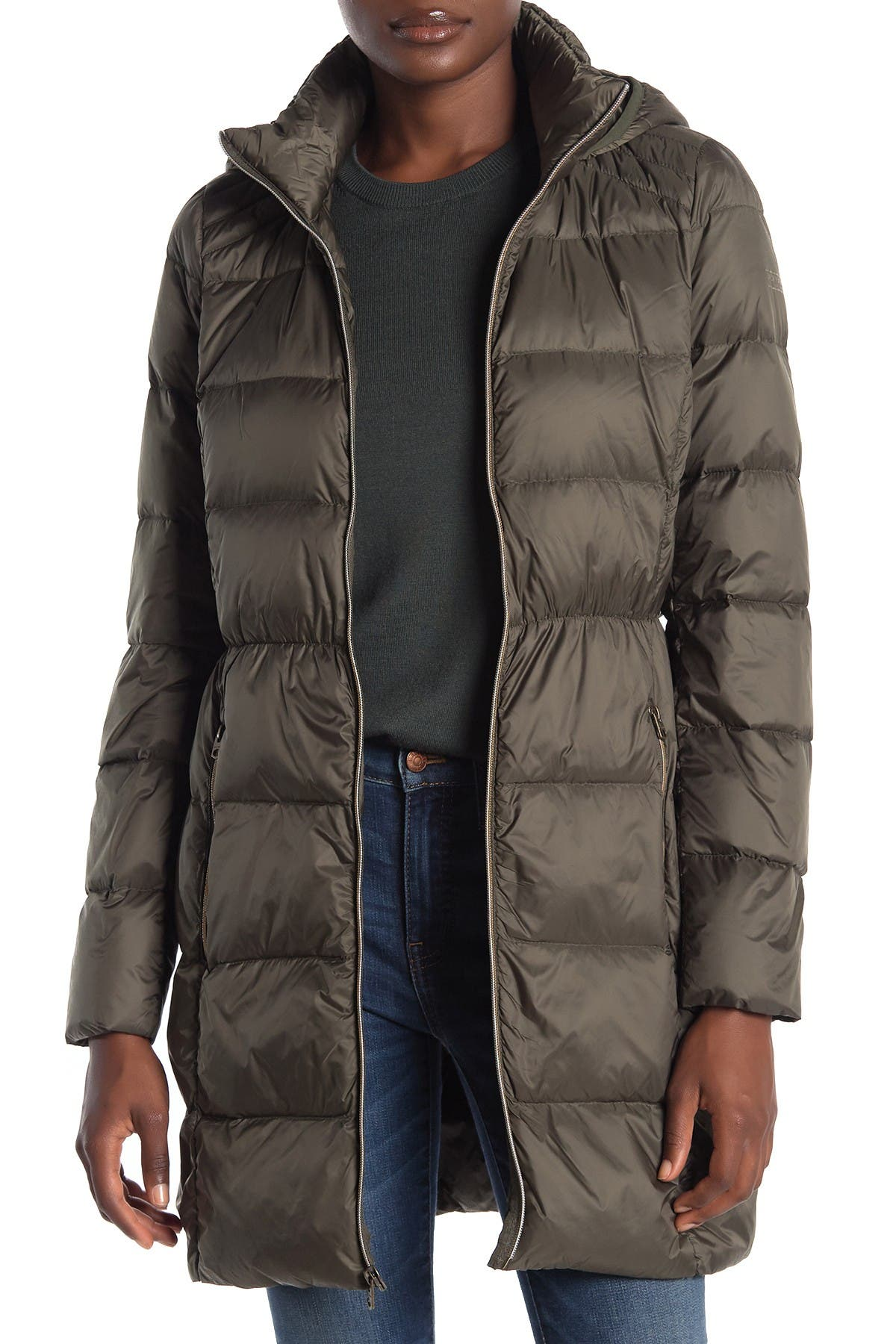 Image of Lucky Brand Hooded Zip Front Down Jacket