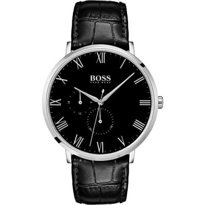 Boss William Leather Strap Watch, 40Mm