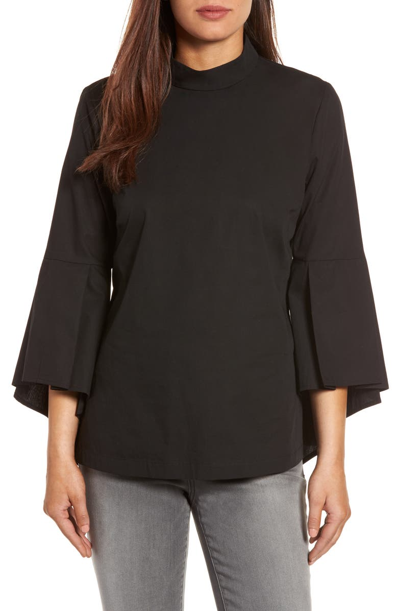 PLEIONE Ruffle Sleeve Poplin Shirt, Main, color, 001