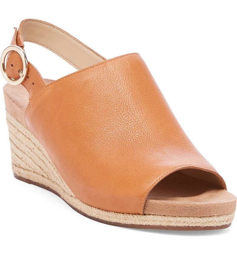 SOLE SOCIETY Kellyn Wedge Sandal, Main, color, ACACIA TAN LEATHER