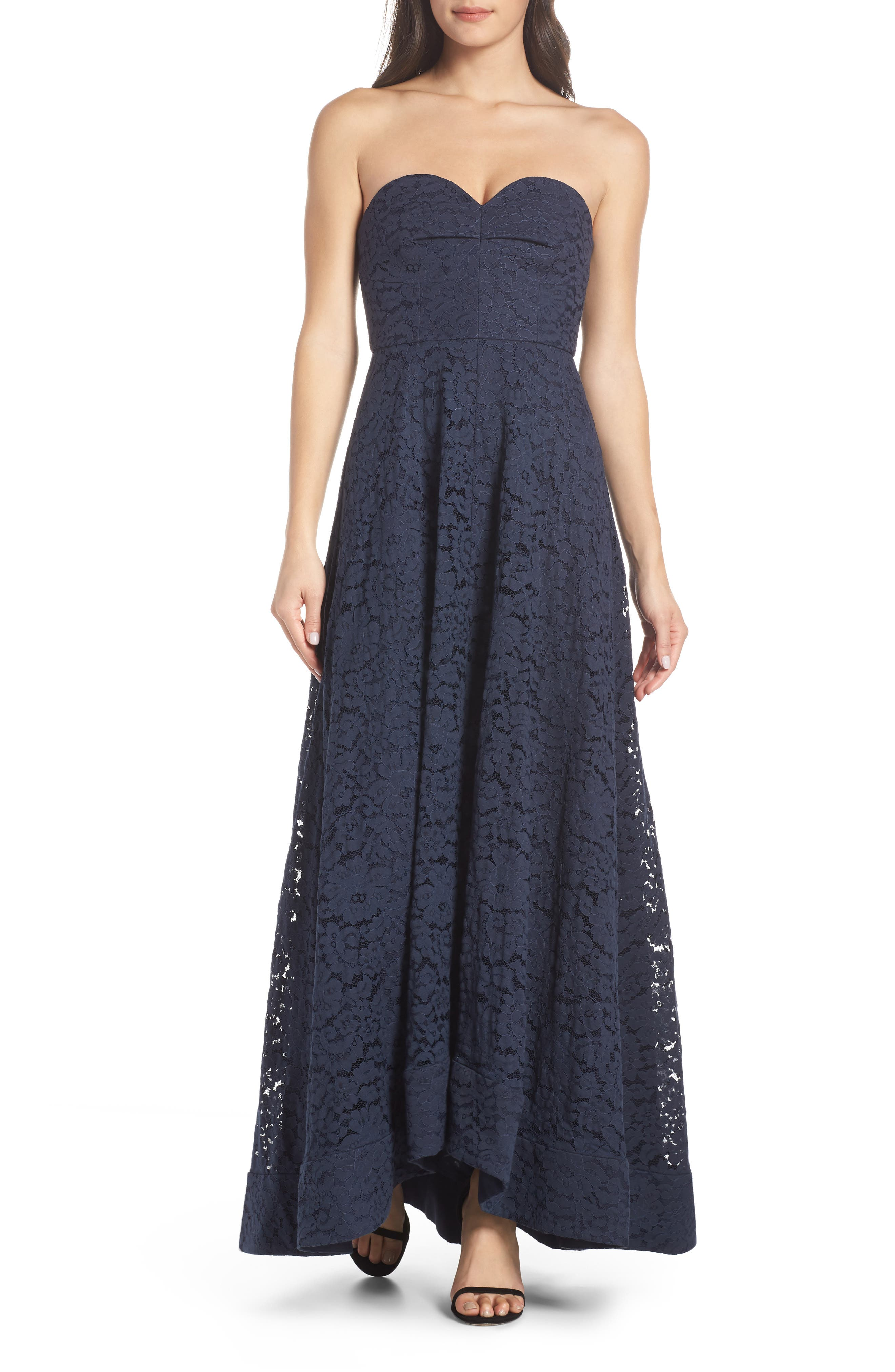 Keepsake The Label Sunshine Strapless Lace Gown, Blue