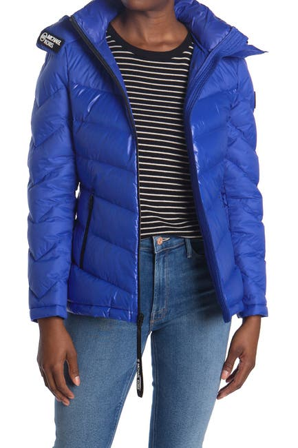 Image of Michael Kors Logo Trim Puffer Jacket