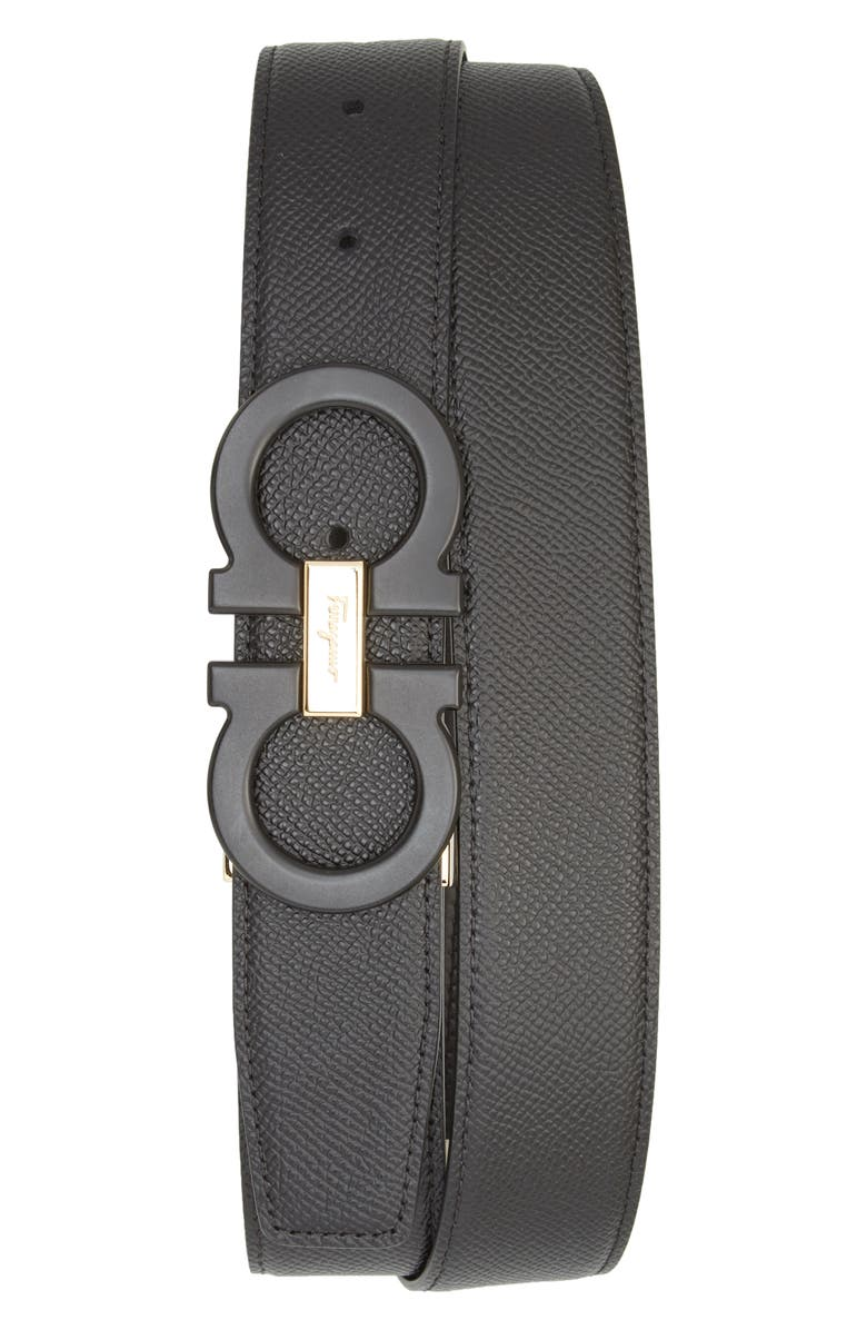 SALVATORE FERRAGAMO Reversible Leather Belt, Main, color, NERO / NERO
