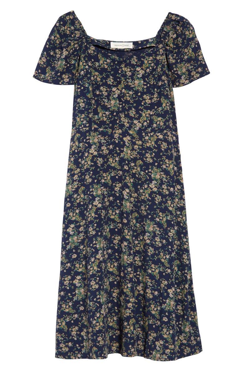 TREASURE & BOND Print Fit & Flare Dress, Main, color, NAVY IRIS FLORAL