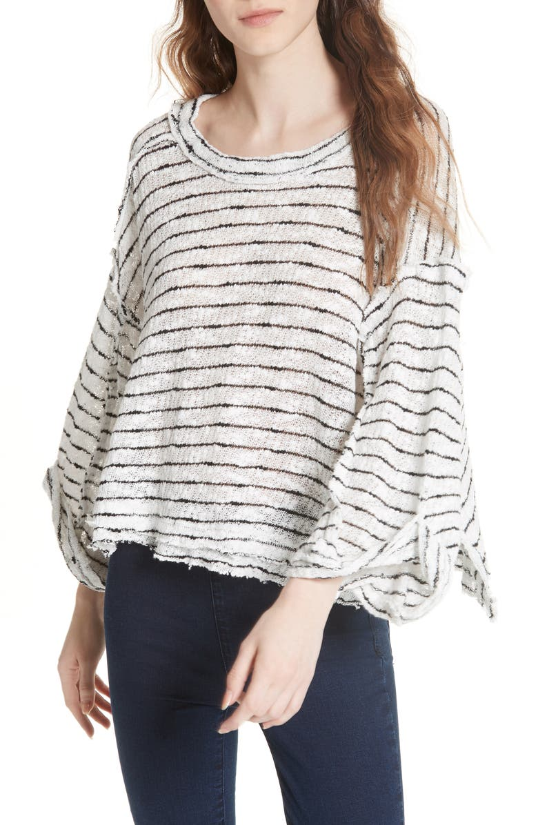 FREE PEOPLE Island Girl Hacci Stripe Tee, Main, color, 100