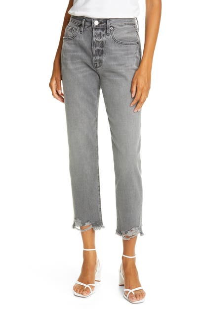Frame Le Original Chewed Hem High Waist Ankle Jeans In Acera Chew