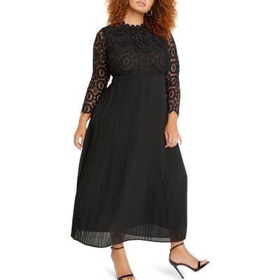 Plus Size Eloquii Lace Bodice Pleated Long Sleeve Evening Dress, Black