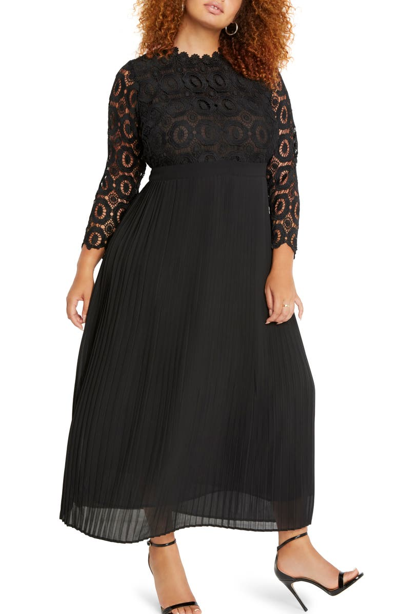 ELOQUII Lace Bodice Pleated Long Sleeve Evening Dress, Main, color, BLACK