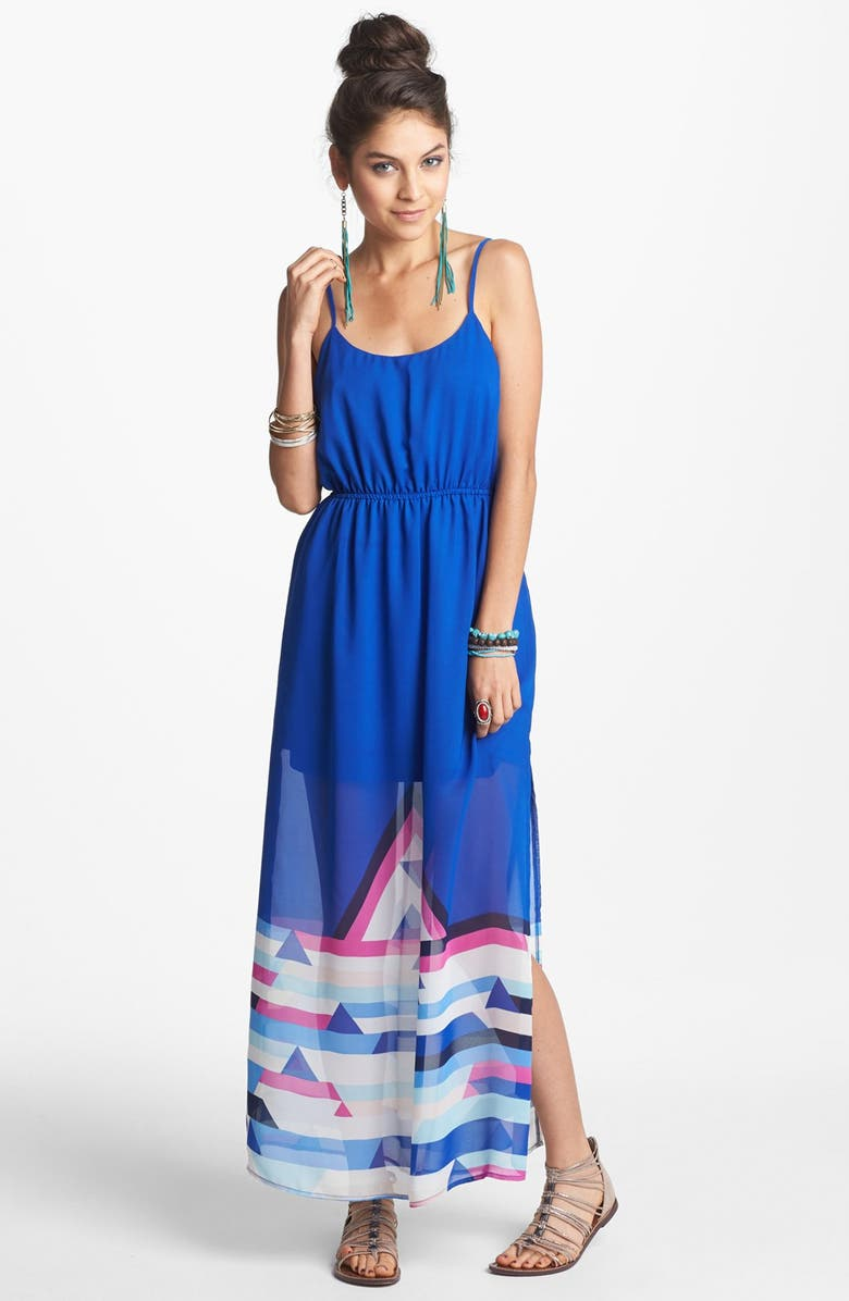 LOVE, FIRE Fire Print Maxi Dress, Main, color, 411
